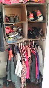 No Mudroom? No problem! Kids shoe organization is easy with these DIY closet storage solutions. An entryway closet can be a great substitute for a mudroom. Cubbies work great for small spaces. Kids shoe storage and kids shoe organization solutions in 10 minutes or less! @naturalsoapmom.com #nomudroom #kidsshoes #nomudroomsolution #kidsshoeorganization #noshoes #noshoesinthehouse #greencleaning #nontoxickids