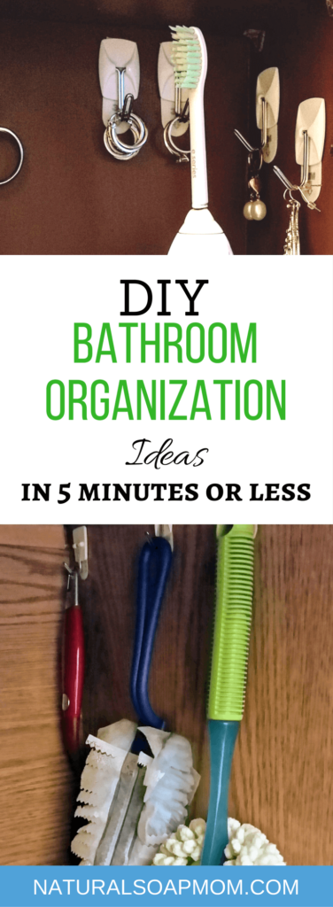 Be a DIY organization diva with these 7 simple bathroom organization ideas. DIY bathroom organization made easy for the countertop and undersink. Simple DIY jewelry organizer for your favorites. These organization ideas for home clutter will get you on the right track. @naturalsoapmom.com |organization hacks | DIY Bathroom Organization |organization ideas for the home #bathroomorganization #bathroomorganizationideas #bathroomorganizer #organizejewlery #jewelryorganization #jewelryorganizationideas #jewleryorganizer #bathroomhacks #organizationhacks #organization #bathroomfun #bathroomideas #decor #bathroompics #organizationfreak #bathroomgoals #organizationtips #organizationobsessed #organizationgoals #organizationchallenge #getorganized #commandhooks #commandhooksrock #commandhooksforthewin #commandhooksby3m #commandstrips #bathroomdesign #bathroomdecor