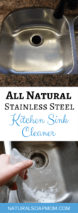 Tired of a dirty looking sink? Learn how to make your own DIY kitchen sink cleaner for your stainless steel sink or white porcelain sink. These cleaning tips using baking soda, lemon, and essential oils make quick work of stuck on messes. Learn how to clean a stainless steel sink with your own homemade sink cleaning scrub. Click to get your sink cleaning hacks and get a clean sink again! @naturalsoapmom.com #sinkcleaner #kitchencleaning #kitchencleaningkits #kitchencleaner #sinkscrub #kitchensinkclean #cleankitchen #cleankitchenatnight #cleankitchens #sinkcleaning #cleankitchens #dirtysink #dirtysinks #stainedsink #allnatural #sanitize
