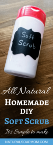 Learn how to make DIY soft scrub with essential oils. This simple homemade cleaner recipe is made with baking soda. Castile soap gives you even more cleaning power. So many uses around your home: kitchen, bathrooms, sinks, tubs and more. Essential oils give a fresh scent and boost even more cleaning power. @naturalsoapmom.com #cleaning #cleaningtips #cleaninghacks #cleaningtricks #naturalcleaning #soaps #cleanhouse #bathroomtile #bathroomcleaning #bathroomgoals #diy #softsoap #soapscum