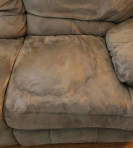 Learn @naturalsoapmom how to get stains out of couch cushions the easy way. Make your couch look new again! When you clean your couch cushion fabric you'll remove stains and remove odors. No more stinky couch! This DIY couch cleaning solution is fast and cheap. You only need a few basic items to succeed. Don't get a new couch, clean it! Works on all types of fabrics too. I'll show you how with this microfiber couch. #cleancouch #couchcleaning #couchstains #stainedcouch #kidmess #messykids