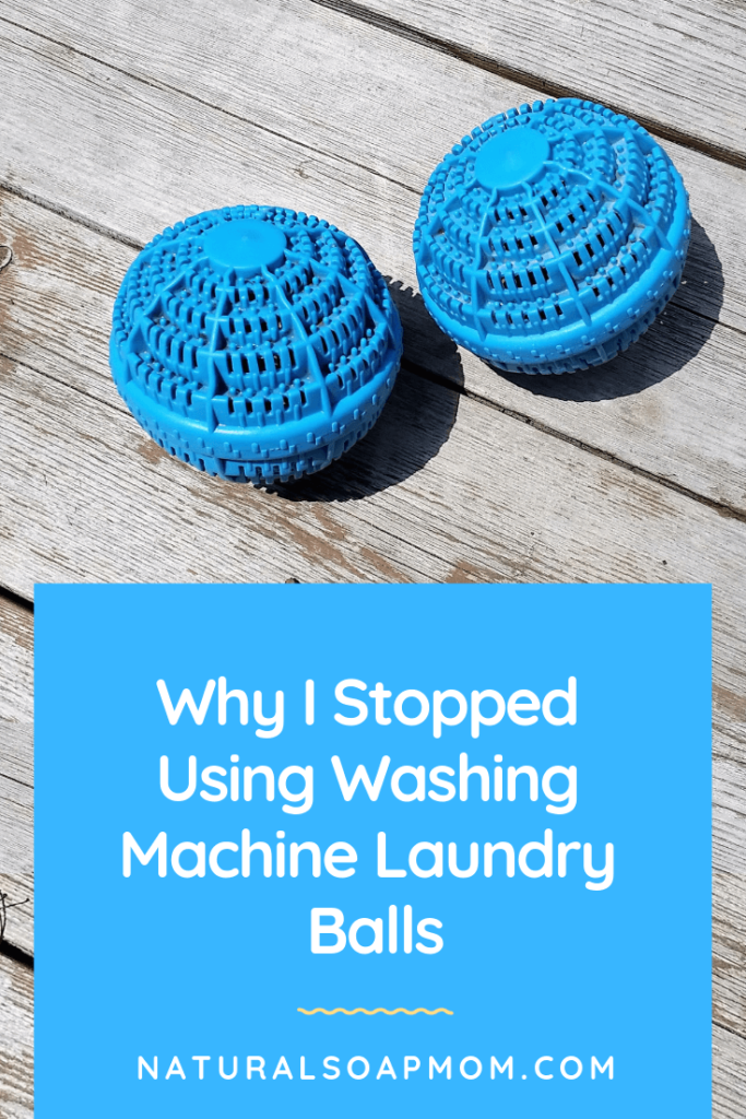 Washing Machine Laundry balls like H20 - get the scoop on whether they hold up to the hype! Plus get other natural laundry ideas like essential oils to freshen and dryer balls as a substitute for fabric softener. @naturalsoapmom.com #naturallaundry #washingmachineballs #naturaldetergent #naturalcleaning